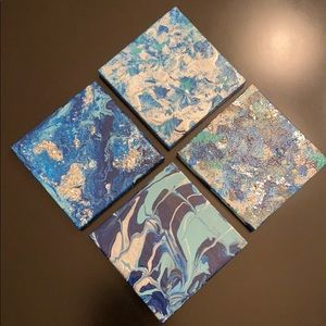 """Hand-painted set of 4 - 4""""x4"""" canvasses"""
